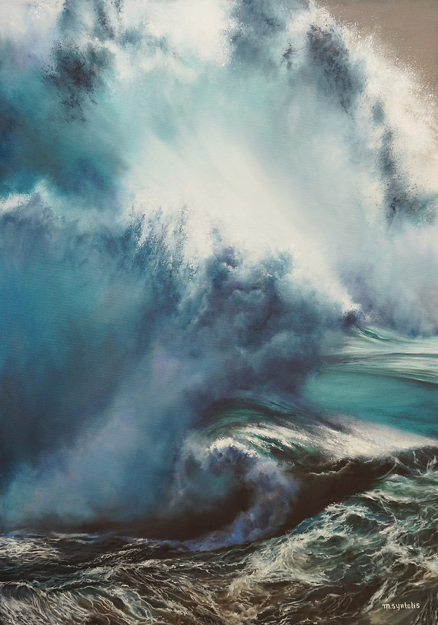 Original oil seascape painting by contemporary fine artist Marina Syntelis. Heavy blue, turquoise, marine blue and bright white sunlit wave clouds touching the ocean waters. Huge, rolling, powerful, mysterious wave adding motion and feeling. Inspired by fierce wind waves, Aivazovski, Turner.
