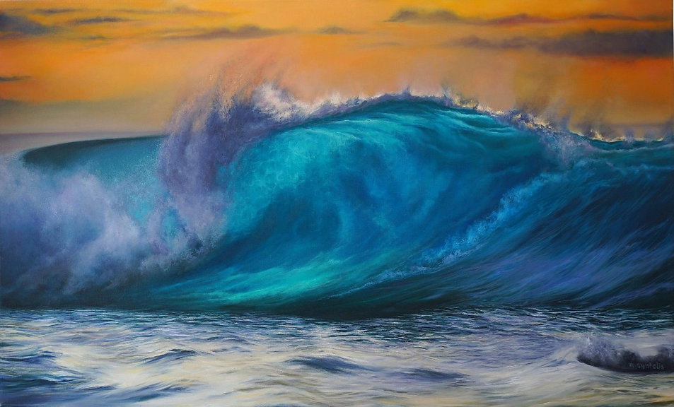 Original oil painting by  ontemporary artist Marina Syntelis. Orange sky, Turner like, and purple, sunset clouds. Turquiose, blue, aqua wave rolling, translucent wave crest reminding of Aivazovski. Romanticism and Hyperrealism in a piece of fine art.