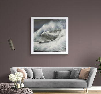 Triton seascape oil painting by painter Marina Syntelis in chic living room with a grey couch.