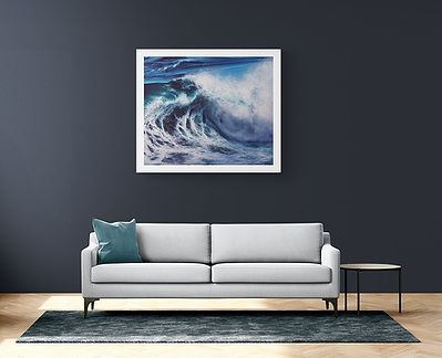 Afroessa oil painting by Marina Syntelis in a living room with dark walls and white sofa