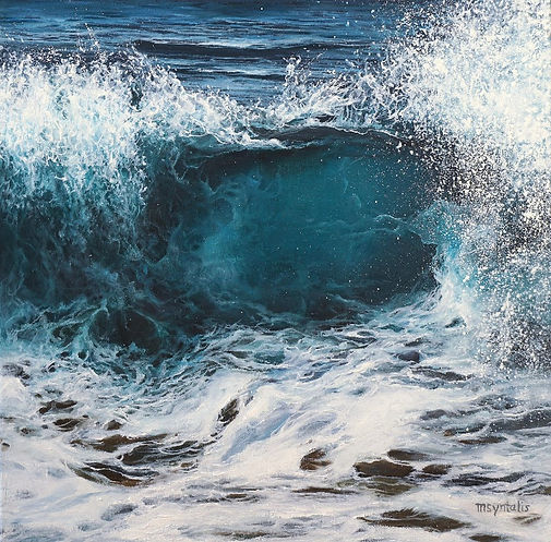 A blue crashing wave close-up with detailed splashes. Creating a feeling of movement, mystery, power, rythm, spontaneity.