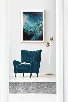 """Marina Syntelis Original Seascape Oil Painting titled """"Strange Blue"""", inspired by the feelings evoked when underwater. The abstract shapes creating a new dimension and the sunlight is filtered by the sea surface. Continuous movement, relaxation in an image that captures a special moment underneath the surface. View how it looks in a room."""