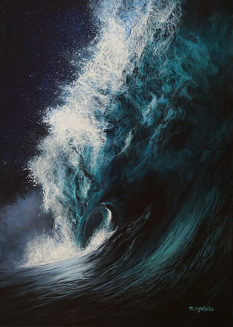 """Marina Syntelis Original Seascape Acrylic painting titled """"Proteus"""". A crushing wave is transforming into a living monstrus creature. Tiny lines enhance the power of the wave and form different figures within the water. Inspired by the power, the infitity, the movent and force of the ocean."""
