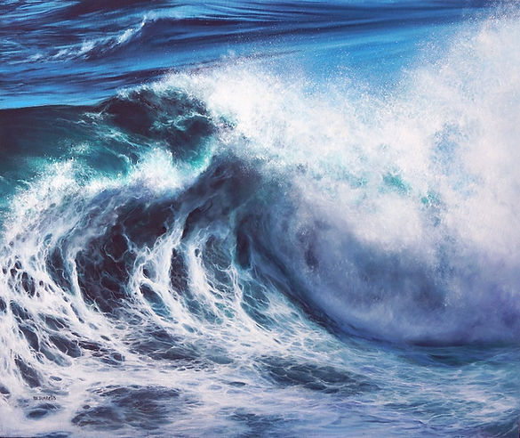 OIl seascape painting of a large, powerful ocean wave crashing.