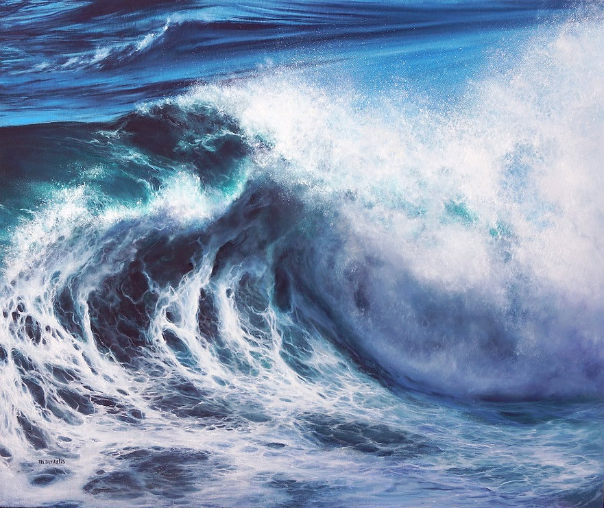 Afroessa seascape oil panting of a large, crashing wave.