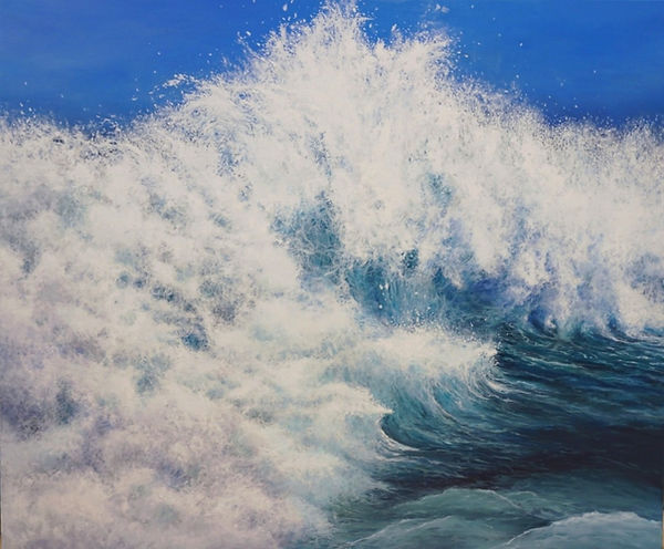 Original oil  painting by contemporary painter Marina Syntelis. A large seascape inspired by the festive feeling of powerful waves crushing. Much attention paid on the fine details which create a bright web forming sea foam. A very unique technique to empower the explosive feelind. Many different, unexpected figures and shapes are hidden among the fine lines so the viewer bcan have a different visual experience every time. Evoking joy, power, brightness.