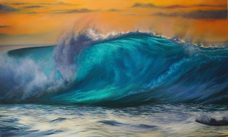 "Marina Syntelis Original Seascape Oil Painting titled ""Occasus"". A Turner like orange sky is combined with a transculent ocean wave creating a unique atmosphere and enhancing the feeling. Inspired by the power of the wave as it crushes."
