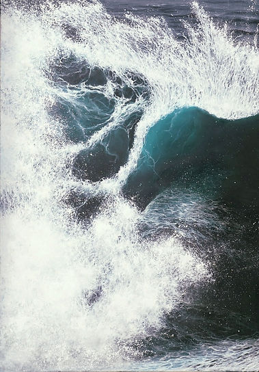 Original oil painting by marine artist Marina Syntelis. The paintng is inspired by the abstract shapes formed by the crushing waves. Tiny little lines are mingled giving the piece a feeling of freshness and freedom while at the same time evoking fear and uncertainty. The chaotic space at the lower part presents a different dimension, while the upper part is filled with the ocean waters, as they spread towards the horizon. The painting is available for sale. More information available, if selected.