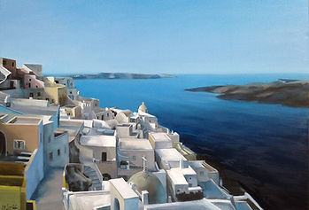 Oil [painting of Santorini, traditional cycladic houses, calm, blue, peaceful sea surrounding the island and volcano of Santorini.