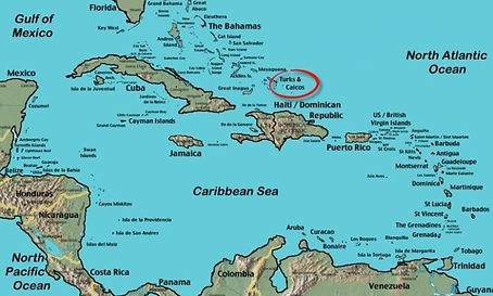 map of Turks and Caicos in the Caribbean