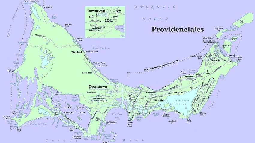 map of Providenciales, Turks and Caicos Islands