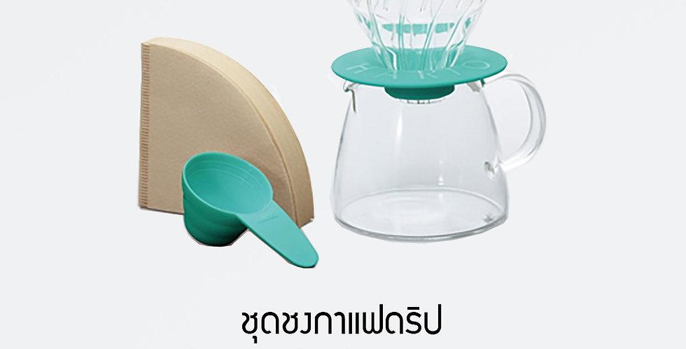 HARIO V60 Glass Dripper & Pot Green