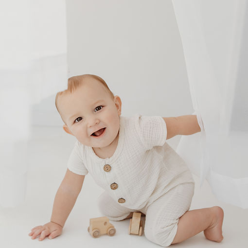 first birthday white studio photography