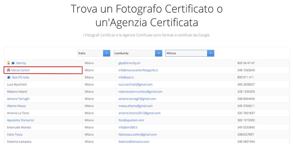 Fotografo certificato Google