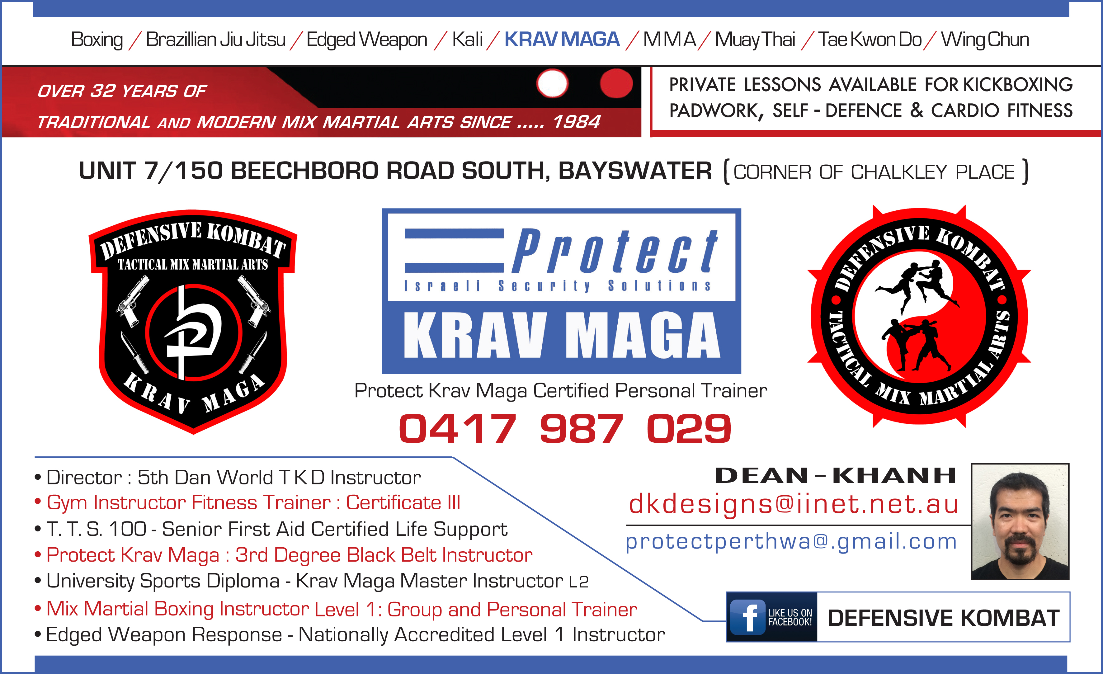 Defensive Kombat Krav Maga Business Card