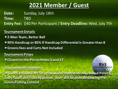 2021 Member-Guest Tournament     JULY 18