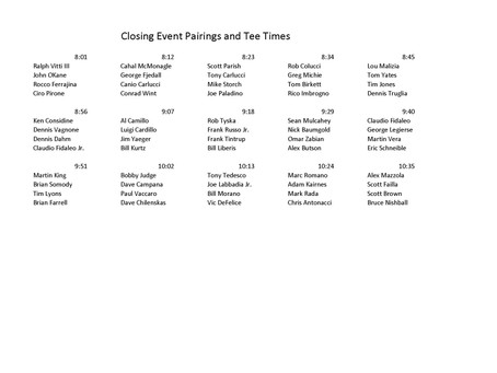 Closing Event Pairing and Tee Times