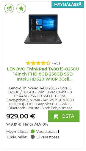 Lenovo ThinkPad T480 kannettava tietokone yrityskäyttöön