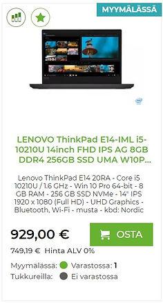 Lenovo ThinkPad E14-IML kannettava tietokone