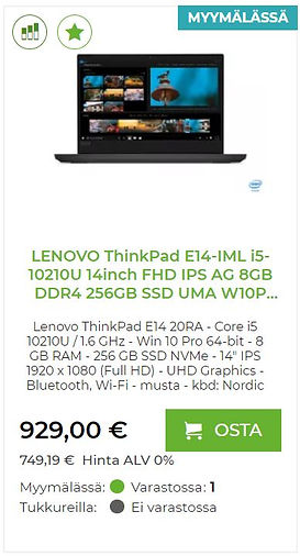 LENOVO ThinkPad E14 kannettava tietokone yrityskäyttöön
