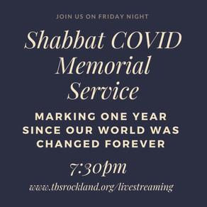 SHABBAT COVID MEMORIAL SERVICE