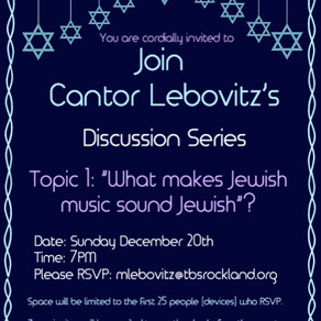 Cantor Levovitz's Discussion Series
