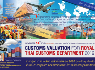 CUSTOMS VALUATION FOR ROYAL THAI CUSTOMS DEPARTMENT 2019