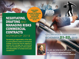 NEGOTIATING, DRAFTING AND MANAGING RISKS COMMERCIAL CONTRACTS WORKSHOP 2019
