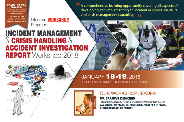 Incident Management & Crisis Handling & Accident Investigation Report Workshop 2018