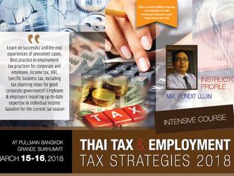 THAI TAX & EMPLOYMENT TAX STRATEGIES 2018