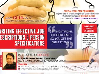 WRITING EFFECTIVE JOB DESCRIPTIONS & PERSON SPECIFICATIONS