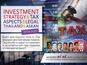 INVESTMENT STRATEGY & TAX ASPECTS & LEGAL THAILAND & ASEAN 2019-2020