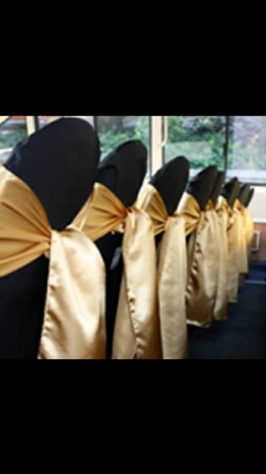 Black & Gold Chair Covers w/Sash
