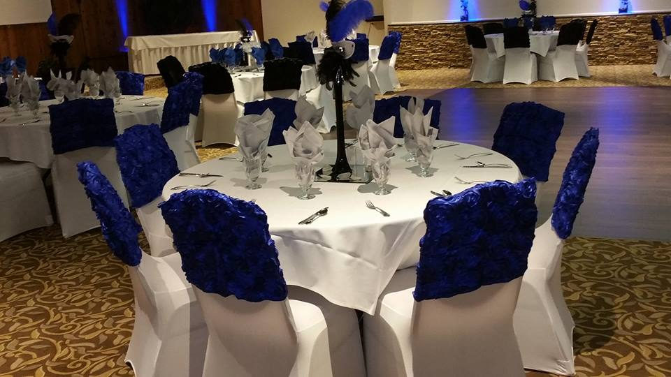 Royal Blue & Black Chair Toppers