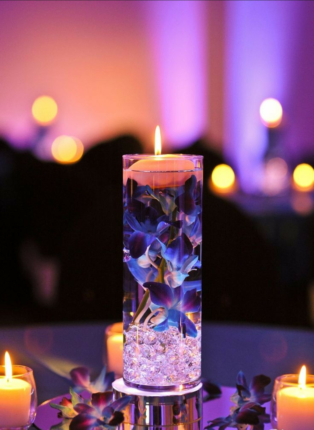 Cylinder Vase with candle & flower