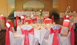White & Coral Chair Covers