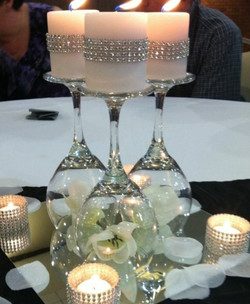Centerpiece with glass & candles