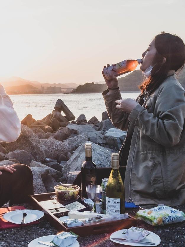 夕日のピクニック