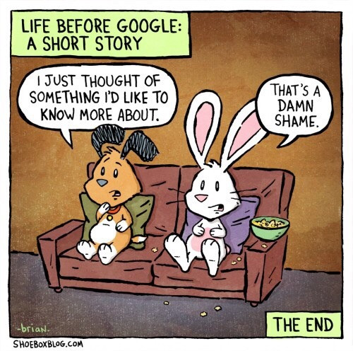 Shoebox cartoon about life before Google search