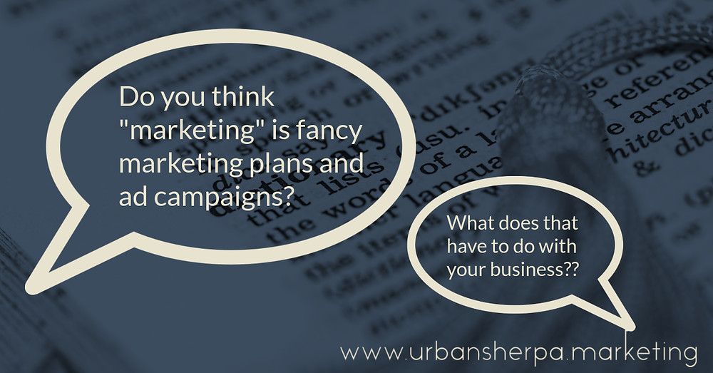 "Speech bubbles that ask what ""marketing"" has to do with your small business"