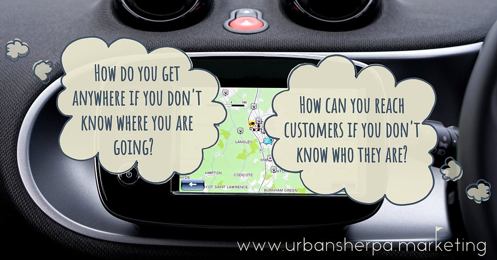 A car's dash showing their GPS, with thought bubbles that say that you need GPS to reach your location, and marketing audience targeting to reach your customers.