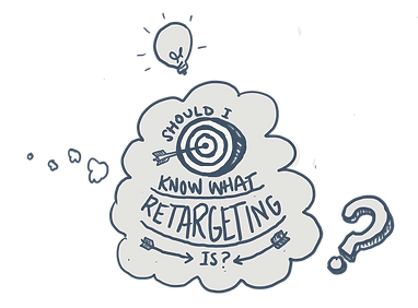 "A thought bubble with the words, ""should I know what retargeting is?"""