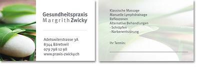 Visitenkarten Massagepraxis Margrith Zwicky Bäretswil