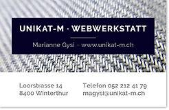 Visitenkarten unikat-M · Webwerkstatt Marianne Gysi