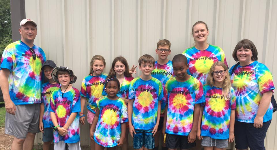 2017-7 LR First Campers & Workers with their Tie-Dye Shirts