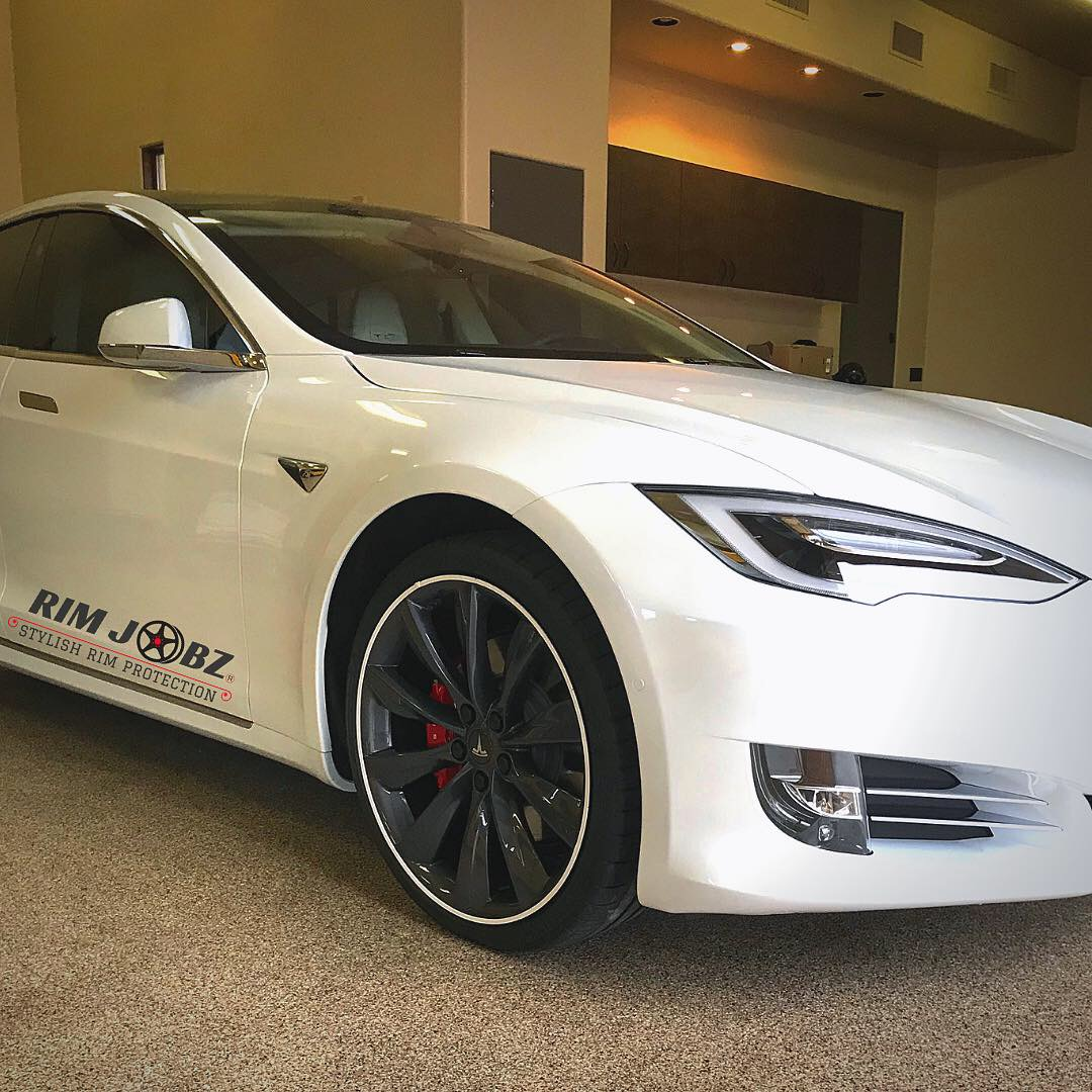 White Premier Rim Protectors on tesla