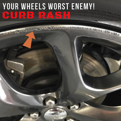 The Protectors goes on the edge of the rims and protects the curb rash prone area.