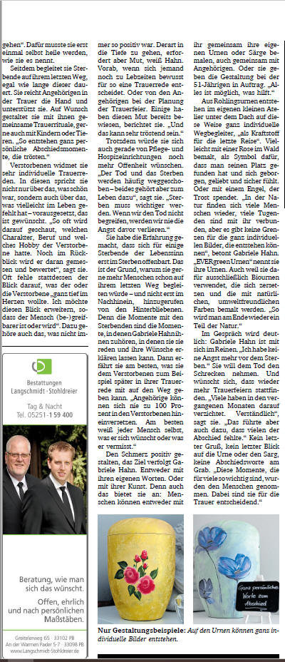 Neue Westfälische Trauermagazin Bielefeld Sterben Tod Loslassen