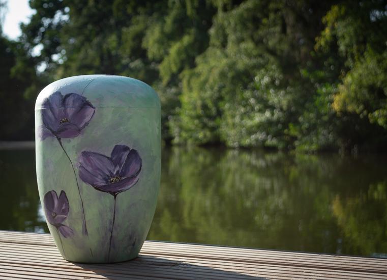 Individuelle Urne - violette Mohnblumen-