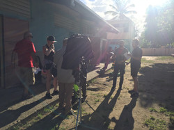 Hot day on set in Puerto Rico